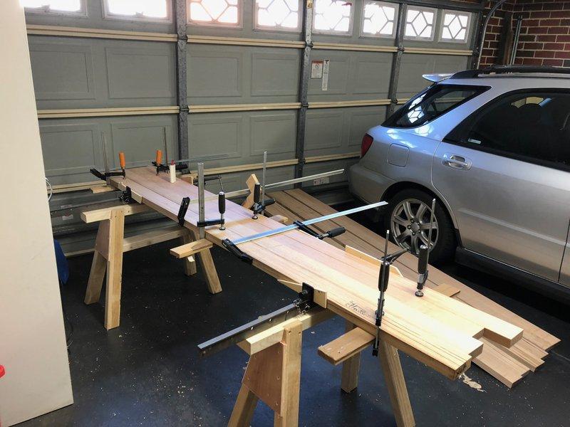 Lamination sub-assembly on saw-horses